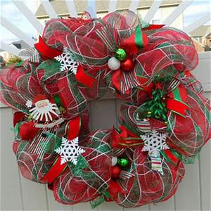 Red Green Deco Mesh Christmas Wreath from What s Your Door