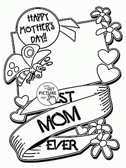 Mother Coloring Mom Pages Mothers Drawing Card