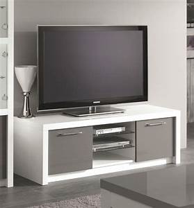 Meuble Blanc Et Gris : meuble tv design 150 cm laqu blanc gris agadir meubles ~ Dailycaller-alerts.com Idées de Décoration
