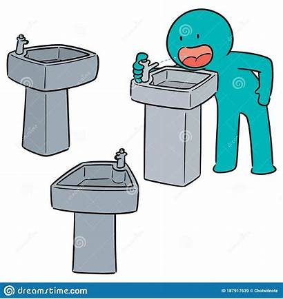Water Fountain Drinking Drawn Cartoon Doodle Graphic