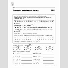 Comparing And Ordering Integers Worksheet For 5th  6th Grade  Lesson Planet