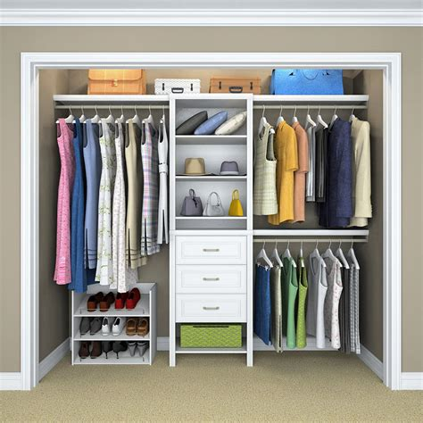 white laminate wood closet kit  shelves  clothing rod