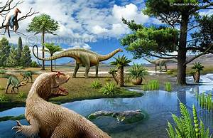 Some Of The Jurassic Period Dinosaurs And Plants By