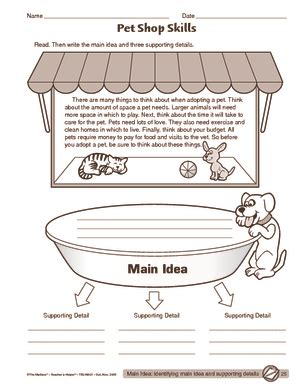 idea and details worksheets 2nd grade worksheets for