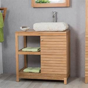 Salle De Bain En Bois : meuble sous vasque simple vasque en bois teck massif ~ Dailycaller-alerts.com Idées de Décoration