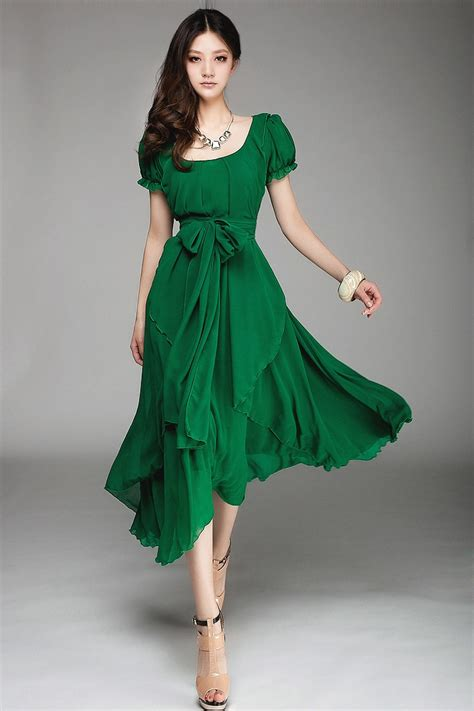 slim lady long fashion chiffon dress big size woman