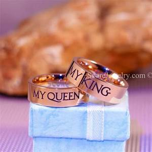 2 piece couple set 14k rose gold couple set tungsten rings for Gold king and queen wedding rings