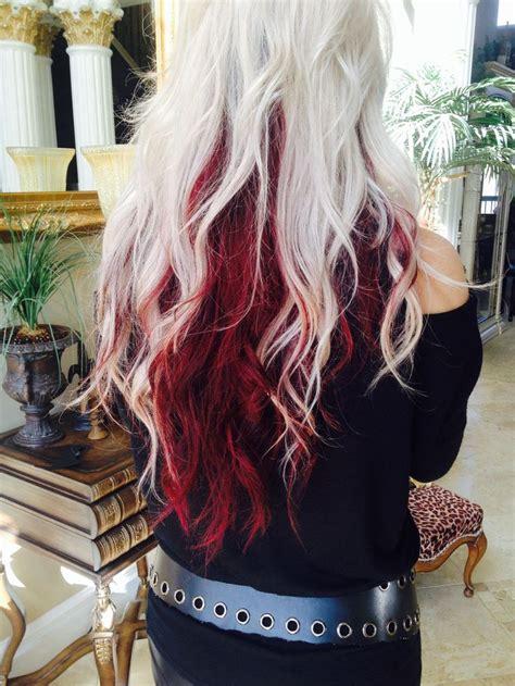 light blonde  deep red underneth hair colors ideas