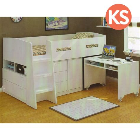 single bunk bed with desk king single loft bed with desk and storage in white buy