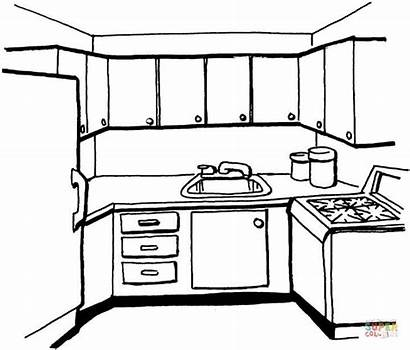 Coloring Kitchen Pages Printable Paper Drawing Holidays