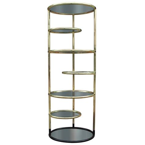 Brass And Glass Etagere - brass and smoked glass swivel etagere at 1stdibs