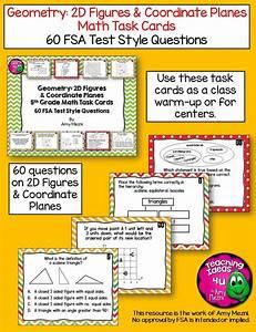 60 Geometry 2d Figures  U0026 Coordinate Planes Task Cards 5th Grade Fsa