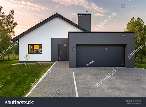 Modern House Garage Green Lawn Exterior Stock Photo