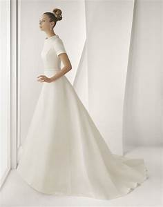 modest ivory silk mikado rosa clara wedding dress with With silk wedding dresses with sleeves