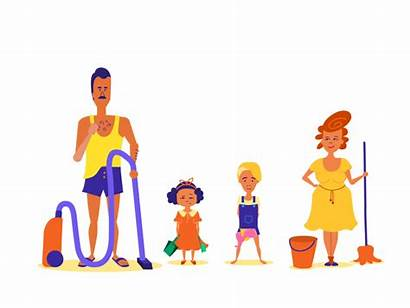Cleaning Happy Dribbble Mom Animation Parents Dad