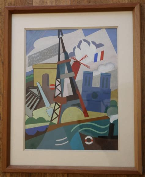 eiffel tower cubist painting  pal patzay attributed
