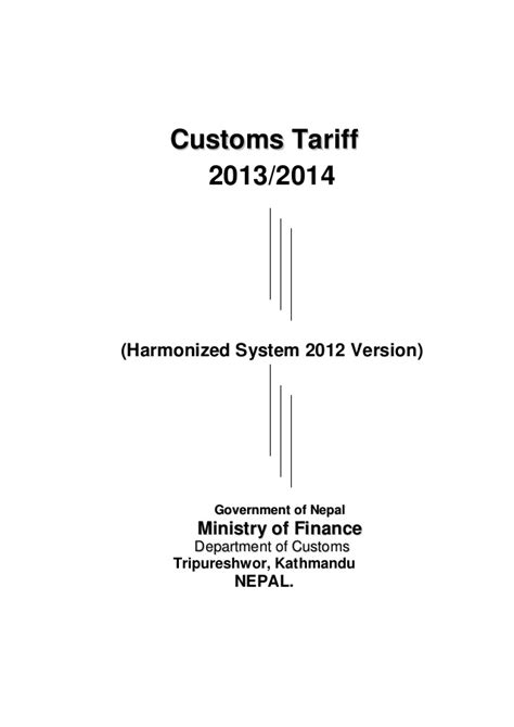 Nepal Customs Import Classification And Duty Hs 207071