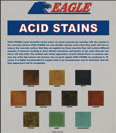 Eagle Acid Stain for Concrete Color Charts (available from