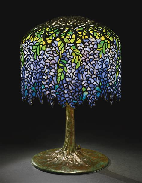 louis comfort tiffany ls quot wisteria quot table lamp shade with small early tag impressed
