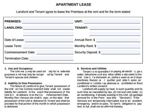 Apartment Lease Agreement Template Business 7 Sle Apartment Lease Agreements Sle Templates