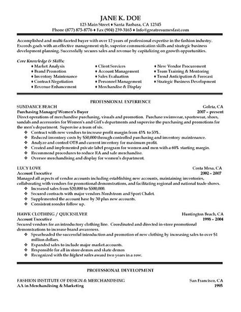 procurement manager resume summary purchasing resume exle