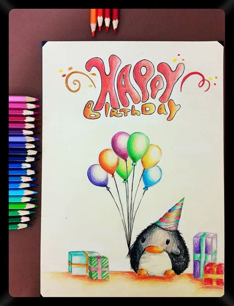 pencil drawing   birthday card   friends