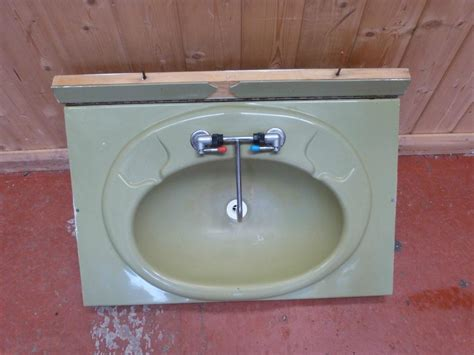 Caravan Motorhome Conversion Green Bathroom Fold Down Sink