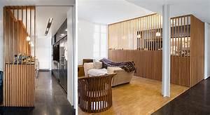 Faire Une Cloison De Separation : id e cloison un claustra en lames de bois maison travaux ~ Melissatoandfro.com Idées de Décoration