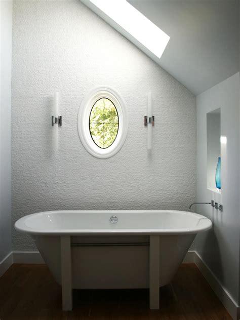 clean white modern bathroom  freestanding bathtub hgtv