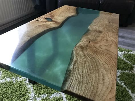 The work is done, workshop cleaned and gathering ideas for another piece of woodwork. Ready to ship! Live Edge Oak & Epoxy Resin River Coffee Table. L90 x W50 x H40cm   eBay