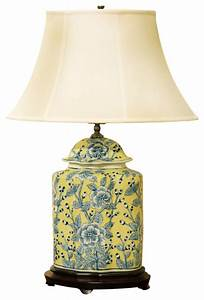 Blue and Yellow Porcelain Jar Lamp With Silk Shade - Asian