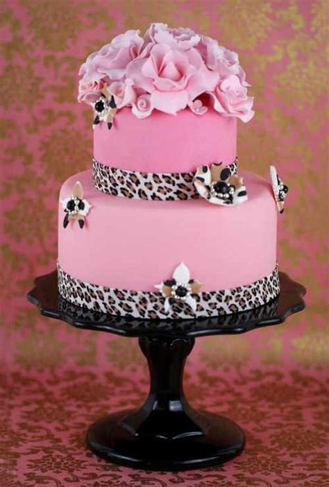 cheetah pink fondant cake    red