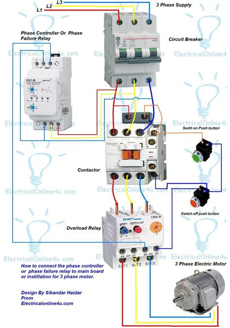 phase controller wiring phase failure relay diagram di on line statar in 2019 electrical