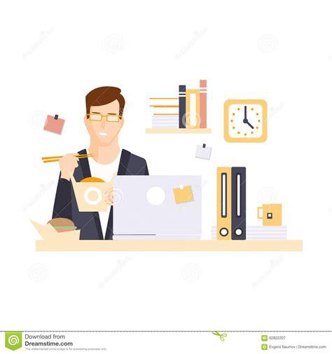 m駭age dans les bureaux employé de bureau d 39 homme dans le compartiment de bureau mangeant le déjeuner ayant personnage de dessin animé courant quotid illustration