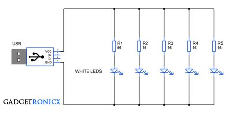 Serial Lighting Diagram by Usb L Circuit Using White Leds Gadgetronicx