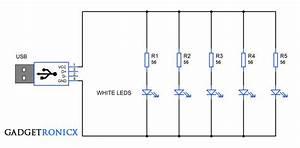 Usb Night Lamp Circuit Using White Leds