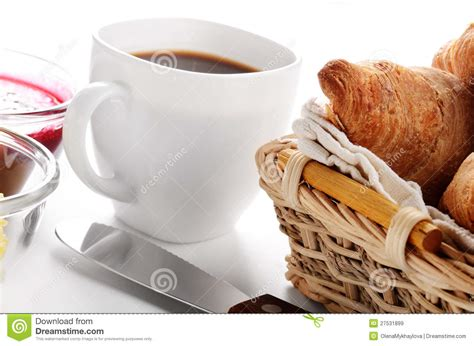 breakfast  coffee croissant jam  butter stock image