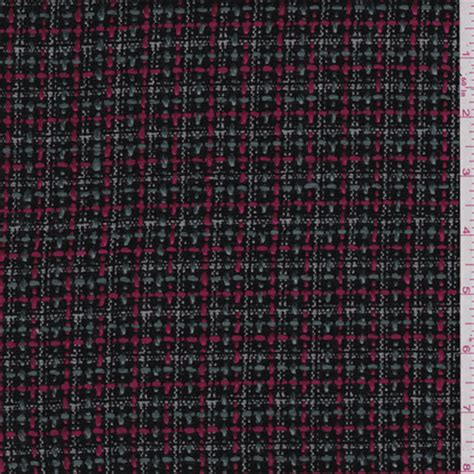 black pink plaid boucle 42959x fashion fabrics