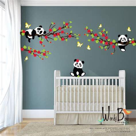 panda bear stickers muraux avec des branches de cerisier