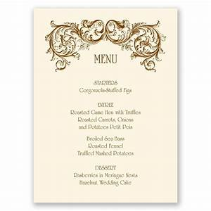 fine filigree menu card invitations by dawn With images of wedding menu cards