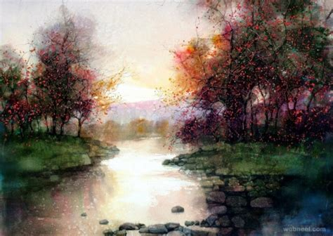 beautiful watercolor landscape paintings  zl feng
