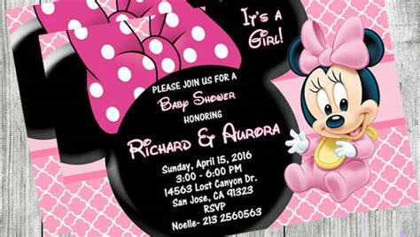 minnie mouse baby shower invitations city 10 minnie mouse baby shower invitations psd ai