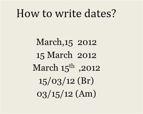 grammatically correct way to write dates eage tutor