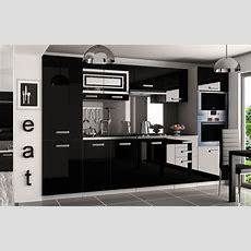 Kaufexpert  Küchenzeile Moderno Schwarz Hochglanz 300 Cm