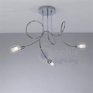 Lampadario moderno soffitto 3 luci bracci arrotondati vetro soffiat
