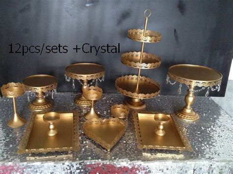 Dhl Set Of 12 Pieces Gold Cake Stand Wedding Cupcake Stand Set Crystal Candy Bar Decoration Cake