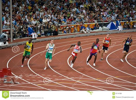 Athletes Run Race In Mens 220m Sprint Editorial Stock ...