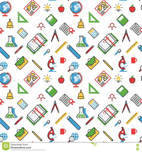 Abstract Wallpaper Design For School by Education Objects Pattern Seamless Background Vector