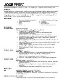 resume letter for radiologic technologist radiologic technologist resume sle jennywashere