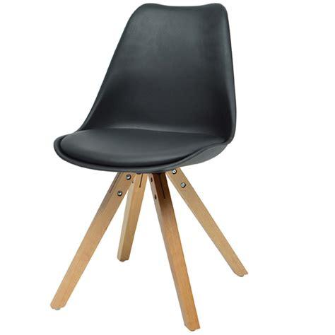 chaise blanc et bois lot de 4 chaises en bois et en pu blanc ou noir moderne imatra